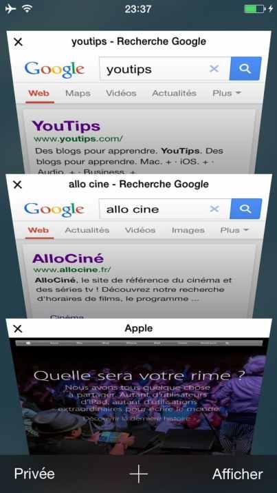 Comment faire une recherche internet sur plusieurs pages sur l'iphone16