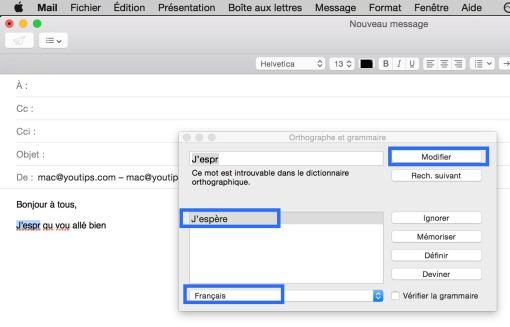 Raccourci clavier Mac pour corriger l'orthographe de vos mails3