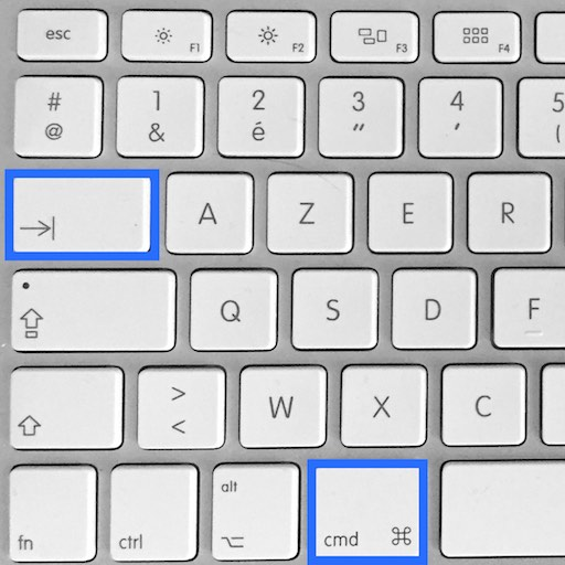 Raccourci clavier Cmd Tab pour passer d'une application à l'autre sur Mac