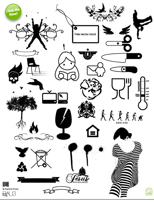 Scissors, patterns, all kinds of vector material_Download