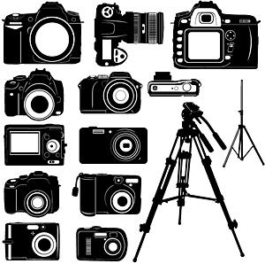 Black and white digital camera silhouette vector material