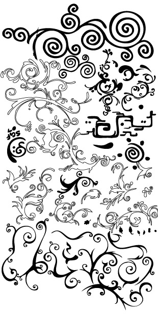 Practical black and white pattern vector material_Download