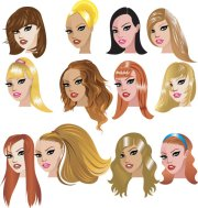 cartoon woman hairstyle 02 - vector