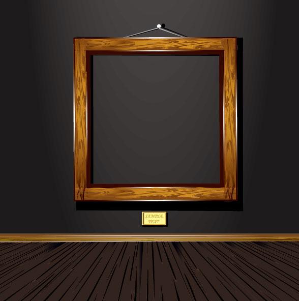 Vintage wood frame 04  vector material_Download free