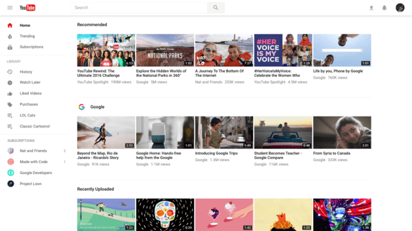 new youtube UI UX