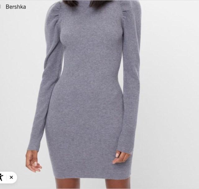 bershka φορεμα γκρι