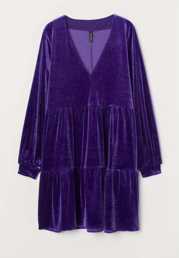 Η&Μ βέλβετ φόρεμα μωβ