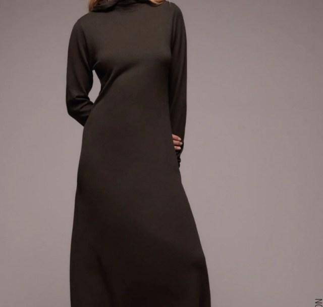 Zara καφέ φόρεμα