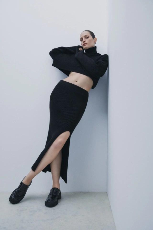 Zara μαύρο πλεκτό πουλόβερ