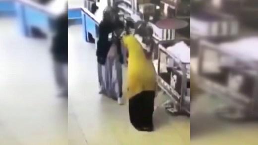 markette boks maçı yapan teyzeler