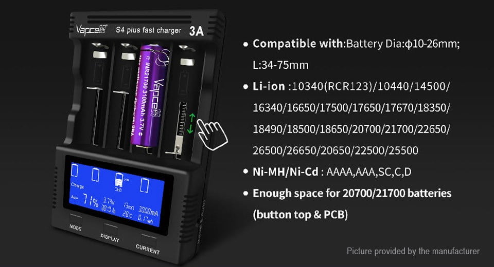 VAPCELL S4 Plus 3A Intelligent Battery Charger VERSION 2 For 18350 18650 26650 21700 Lithium Charger   UK Dealer; Grimsby, Lincolnshire   Yowcha!