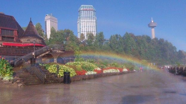 Arc en ciel sur la ville des Chutes du Niagara du coté Canadien photo blog voyage tour du monde http://yoytourdumonde.fr