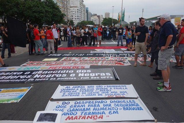 Bresil- Coupe du Monde de Football 2014: Manifestation contre le mondial a Rio de Janeiro.