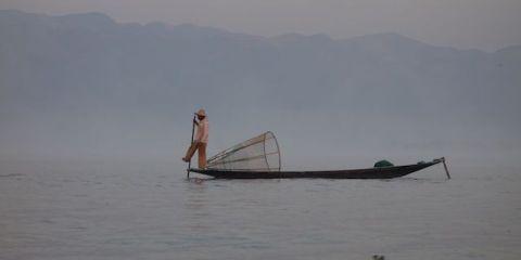 Certains pecheurs attendent les touristes sur le lac inle pour gagner un peu d'argent ici nous voyons un vrai pecheur qui attend le poisson photo blog voyage tour du monde http://yoytourdumonde.fr