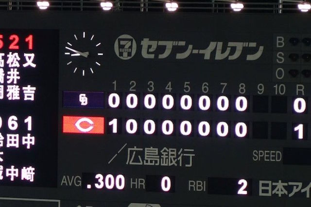 Stade de baseball d'Hiroshima score horrible photo blog voyage tour du monde http://yoytourdumonde.fr