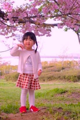 Une petite fille japonaise devant un cerisier en fleur à Osaka photo blog voyage tour du monde http://yoytourdumonde.fr