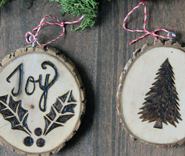 Create Holiday Ornaments By Using Wood Burning Tools On Wood Slices