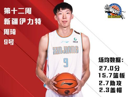 CBA announces best player of the second week of the quarter-finals:Zhou Qi and Jiangsu Foreign Aid are elected