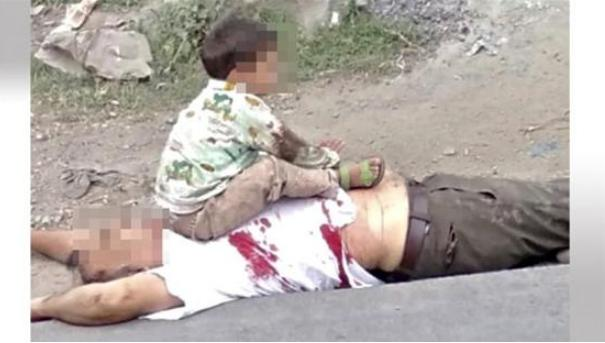 Indian soldiers indiscriminately killed innocent people in the disputed area. The old man was shot and dragged out of the car, forcing his grandson to take a photo of the body
