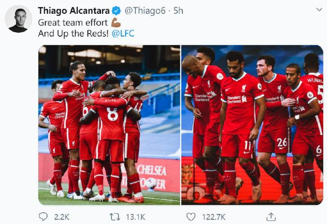 Thiago tweeted to celebrate the victory:outstanding team performance, the Red Army took off