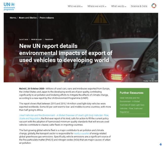 UN Environment:Most of the second-hand cars exported from Europe, America and Japan are polluting vehicles of poor quality