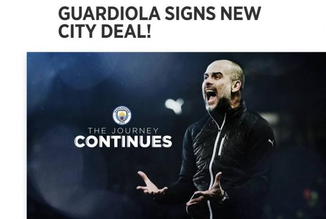 Official:Manchester City and coach Guardiola renew their contract until 2023