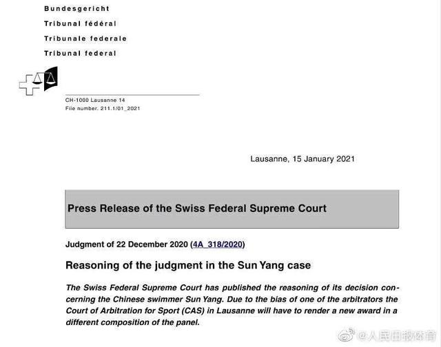 Sun Yang's 8-year ban was revoked for retrial