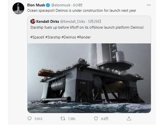 """Musk: """"Debos"""" marine spaceport is under construction and may start to launch next year"""