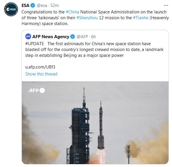 The European Space Agency tweeted congratulations on the successful launch of China's Shenzhou 12 manned spacecraft