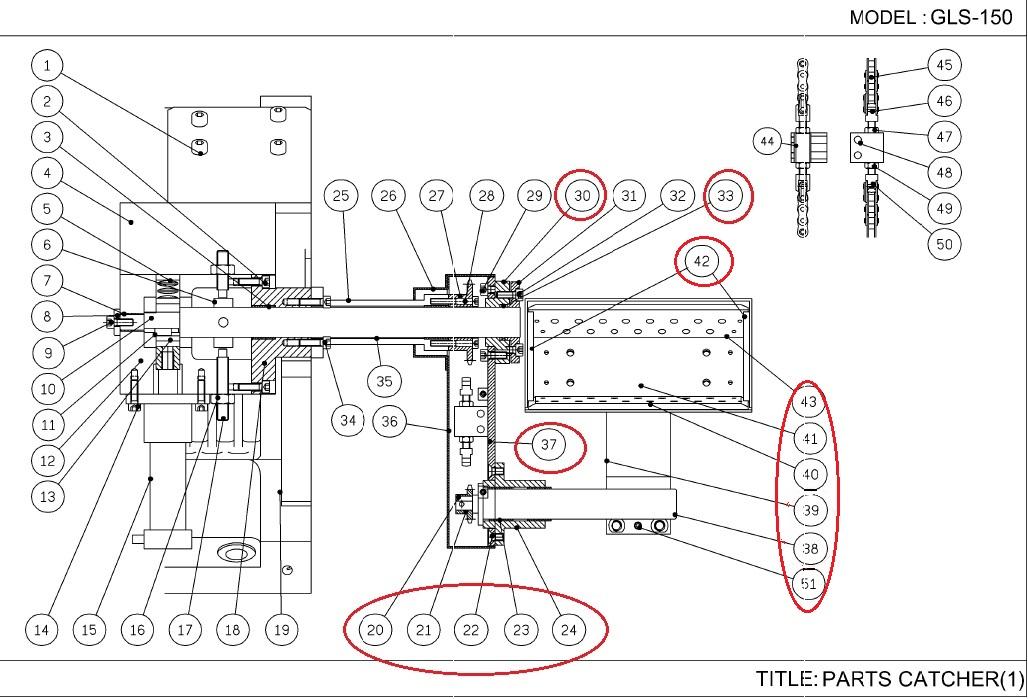 GLS-150: PARTS CATCHER PULLEY SET