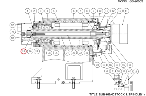 SUB-HEADSTOCK/SPINDLE: DRAW NUT FOR GS-20000 SERIES