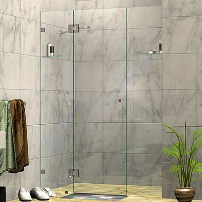 Three Panel Frameless Wall To Wall Shower Screen