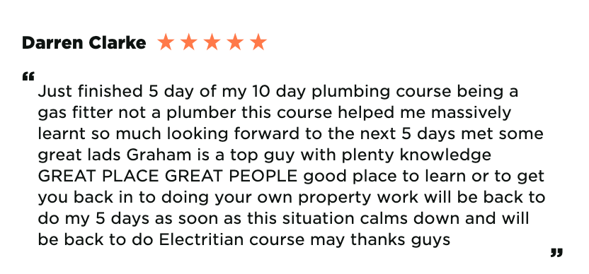 Darren Clarke plumbing course review