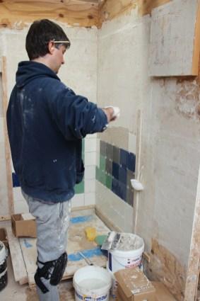 Tiling a shower area