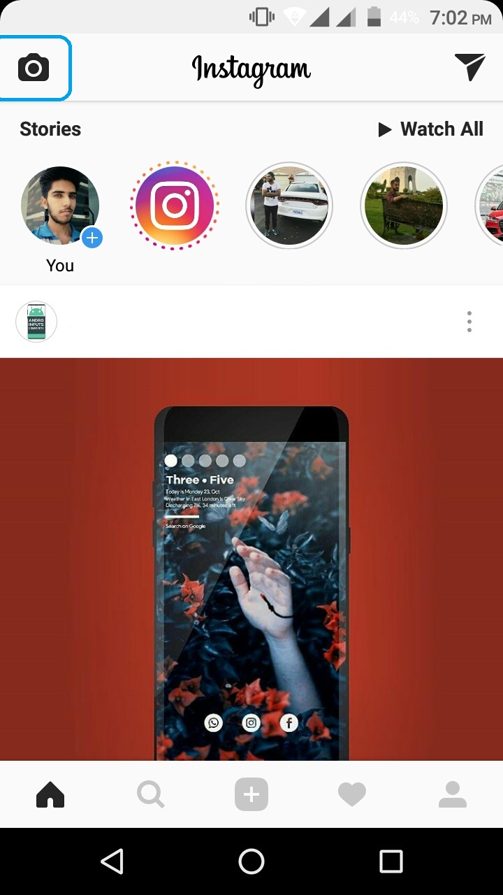 how to use instagram camera on android