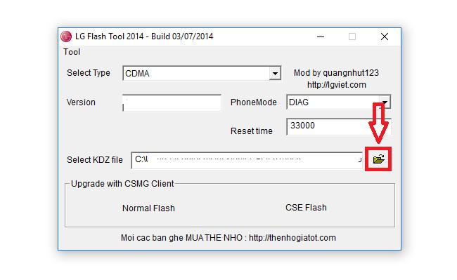 Flash KDZ using lg flash tool