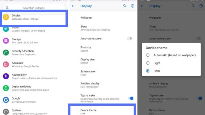 enable dark mode on android pie