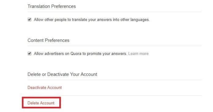 How to Delete Quora Account