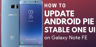 Samsung Galaxy Note FE Android Pie Update