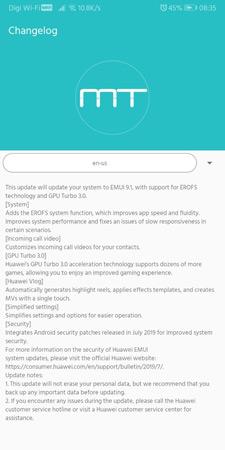 Huawei EMUI 9.1 Changelog