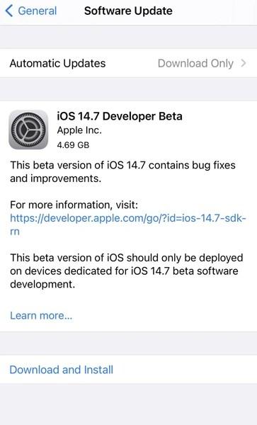 iOS 14.7 Beta 1