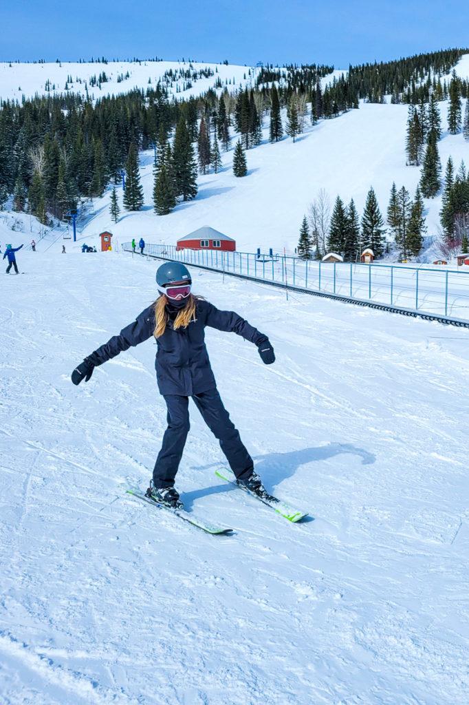 Kalyra learning to ski at Schweitzer