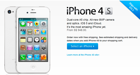 iPhone 4S goes on pre-order in Singapore for Php32k
