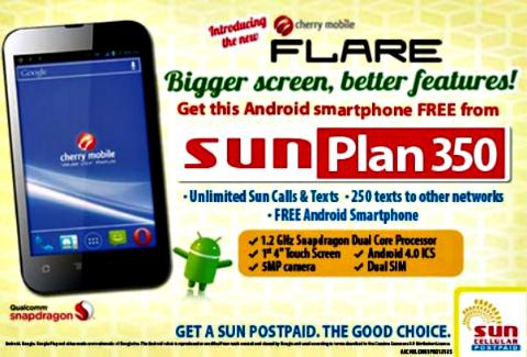 Cherry Mobile Flare free on Sun Plan 350 - YugaTech