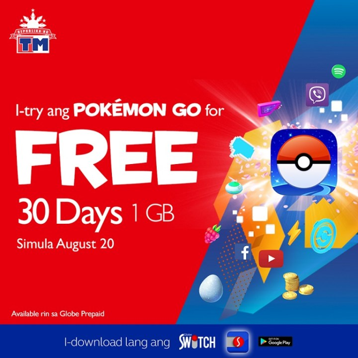 Globe and TM offers 30 days free access or 1GB allocation to