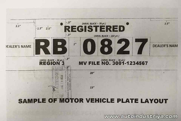 LTO releases specifications for temporary license plates
