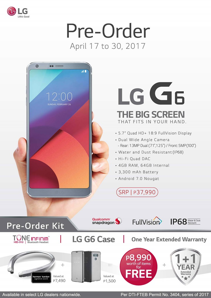 LG G6 now available for pre-order - YugaTech | Philippines Tech News