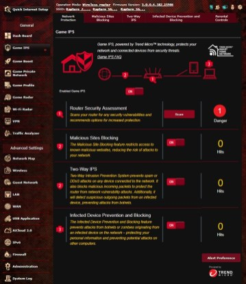Asus ROG Rapture Network protection Game IPS