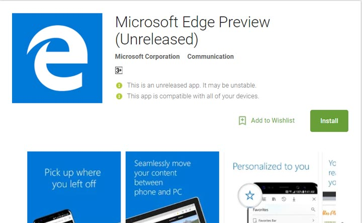 Microsoft Edge (Preview) and Launcher for Android now available for