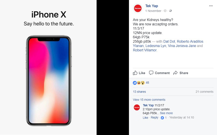 And Finally Just A Few Hours Ago Via Their Facebook Profile TekPone Updated Prices For Apples Anniversary Device They Are Offering The At